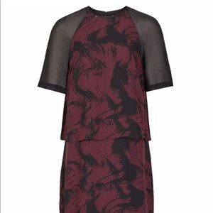 New reiss dawn sz 0 tiered print overlay dress